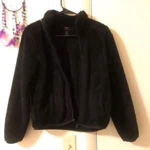 Black furry jacket